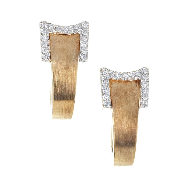 .34 Carat Diamond Gold Ribbon Style Hinge Huggie Earrings