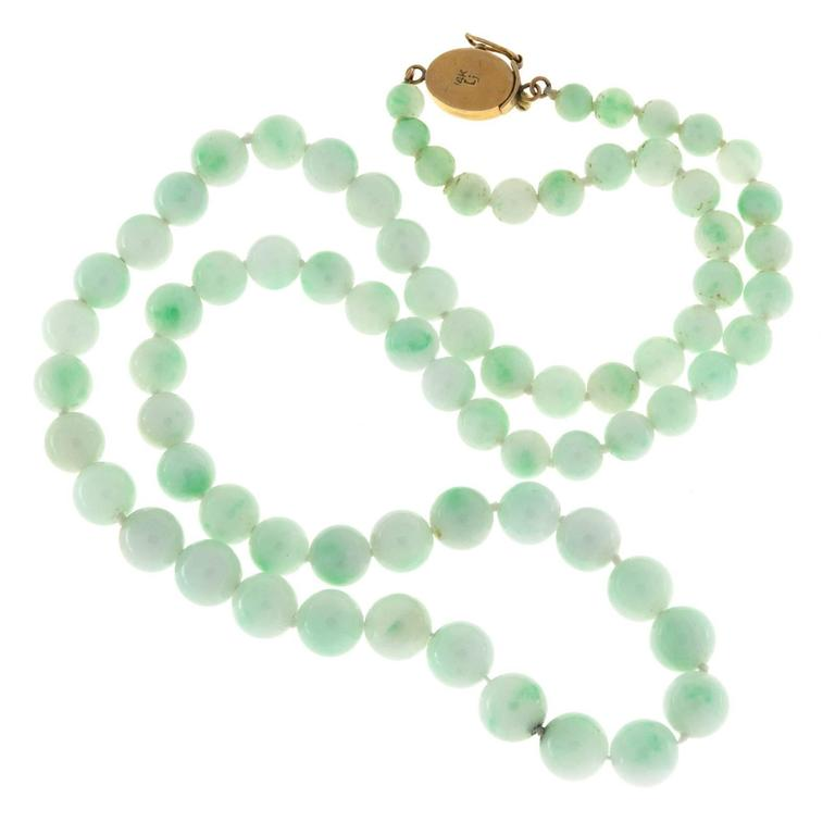 Untreated Light Green Jadeite Jade Yellow Gold Necklace 3