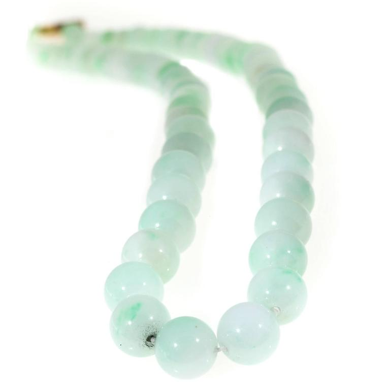 Untreated Light Green Jadeite Jade Yellow Gold Necklace 5