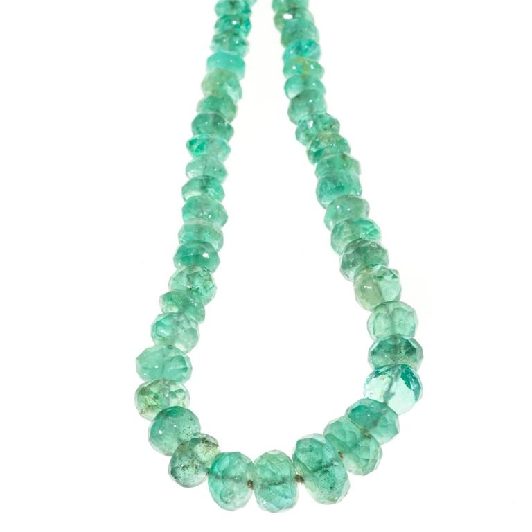 Emerald Bead Beads: Green Emerald Graduated Bead Gold Necklace At 1stdibs