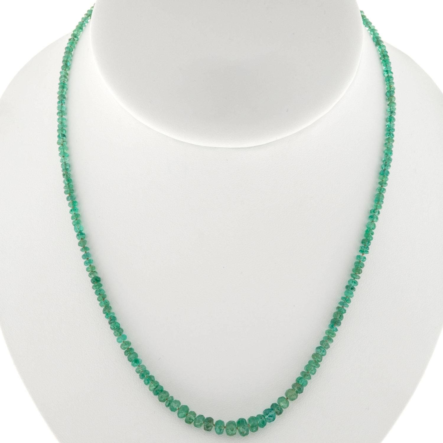 green emerald graduated bead gold necklace at 1stdibs