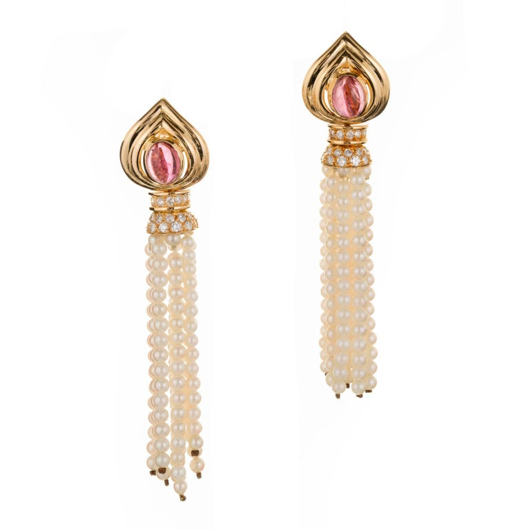 2.00 Carat Pink Tourmaline Diamond Pearl Tassel Gold Dangle Drop Earrings