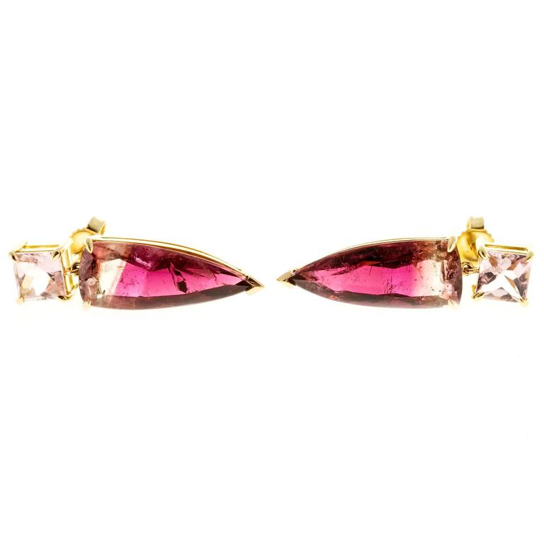 Peter Suchy Soft Pink Bi Color Tourmaline Gold Dangle Earring 2