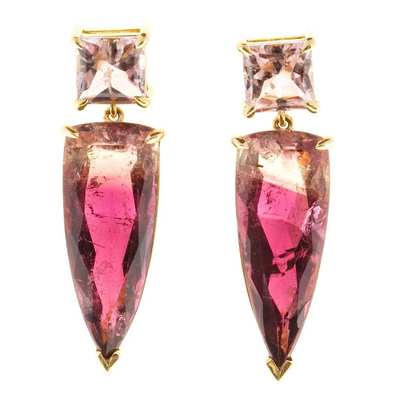 Peter Suchy Soft Pink Bi Color Tourmaline Gold Dangle Earring