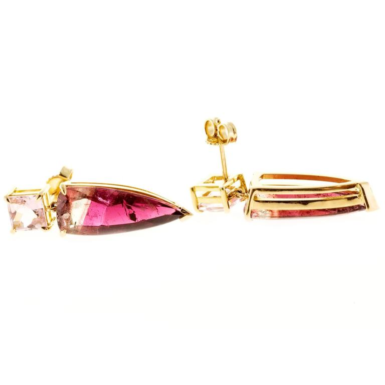 Peter Suchy Soft Pink Bi Color Tourmaline Gold Dangle Earring 5