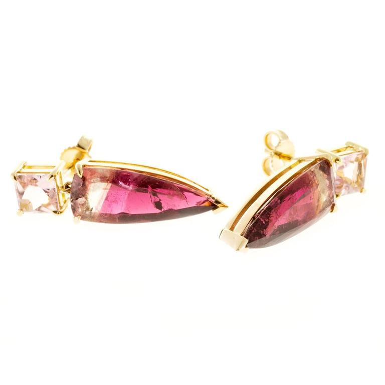 Peter Suchy Soft Pink Bi Color Tourmaline Gold Dangle Earring 6