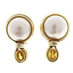 R. Cipullo White Mabe Pearl Oval Citrine Gold Earrings
