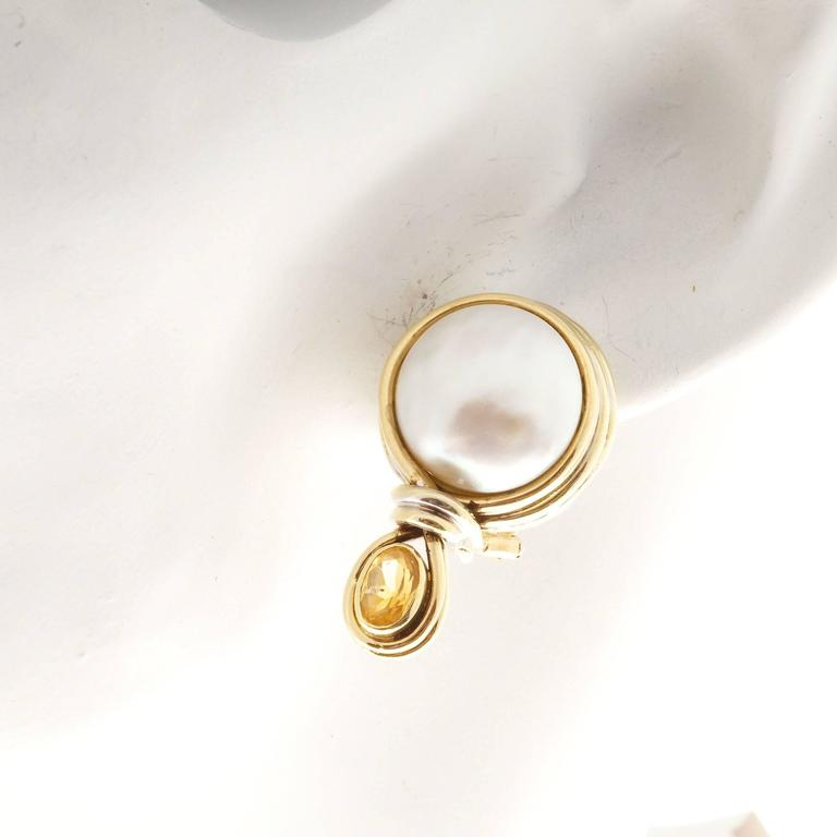 R. Cipullo White Mabe Pearl Oval Citrine Gold Earrings For Sale 1