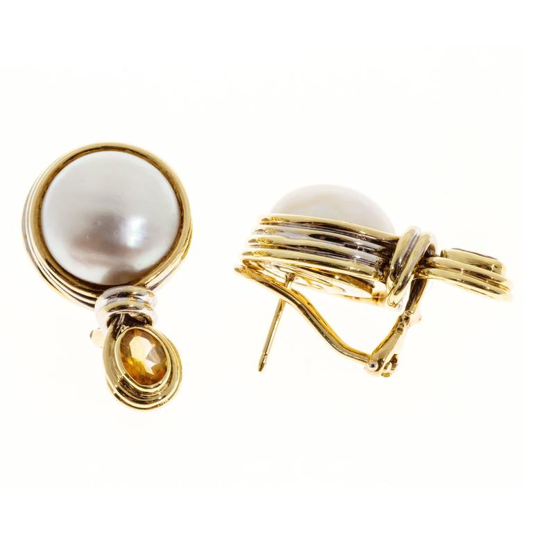 Women's R. Cipullo White Mabe Pearl Oval Citrine Gold Earrings For Sale
