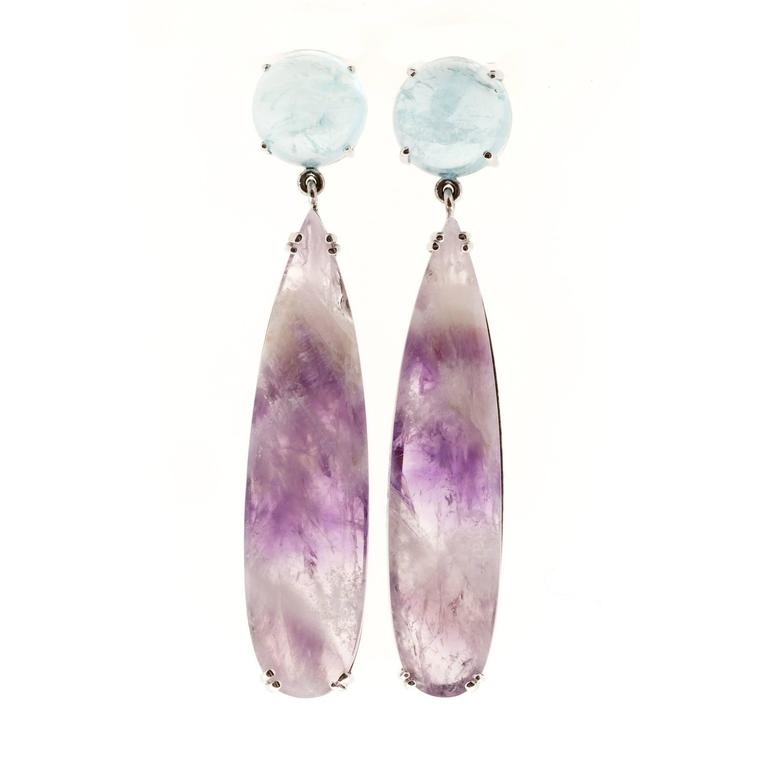 Handmade dangle earrings from the Peter Suchy Workshop made with natural Aquamarine and Amethyst Quartz.