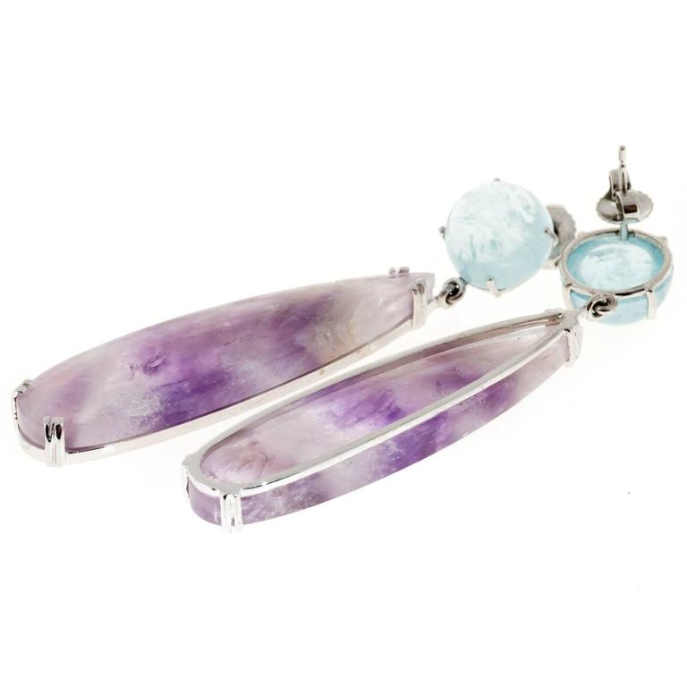 Peter Suchy Natural Aquamarine Amethyst Quartz Gold Dangle Earrings For Sale 1