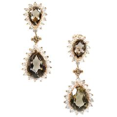 Smoky Brown Topaz Diamond Raised Wire Set Dangle Earrings