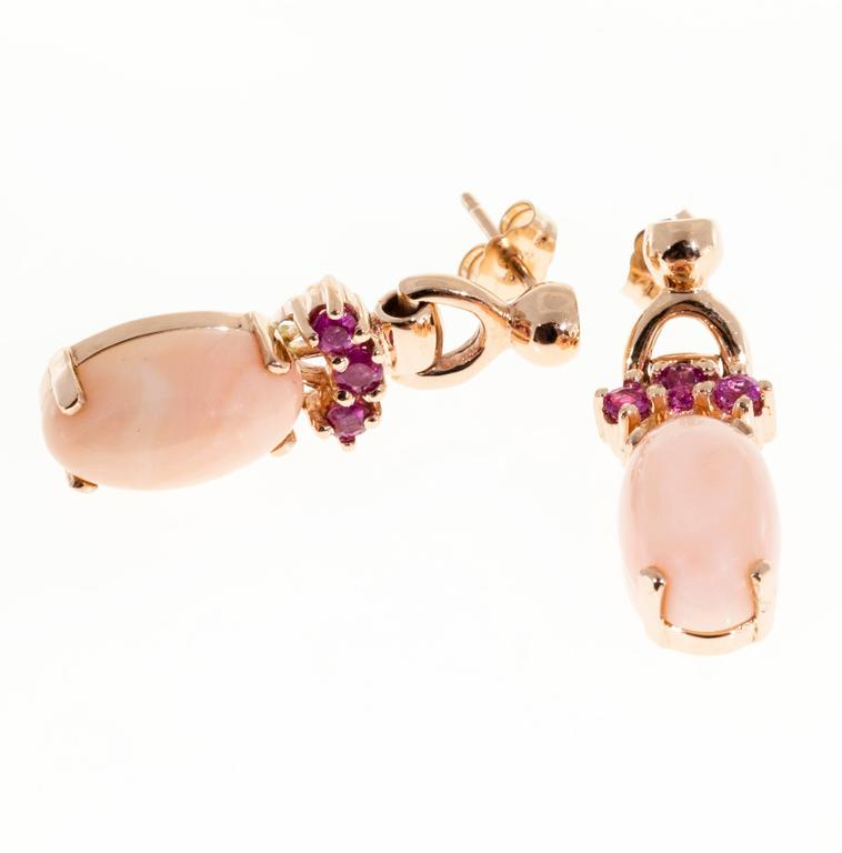 Natural Coral Pink Sapphire Gold Dangle Earrings For Sale 1