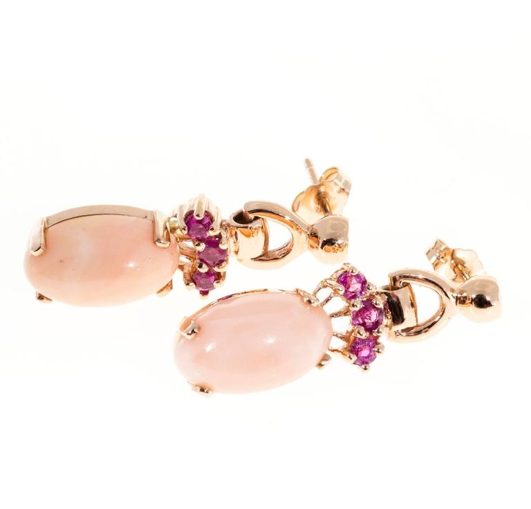 Women's Natural Coral Pink Sapphire Gold Dangle Earrings For Sale
