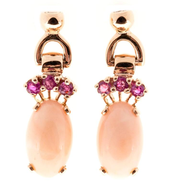 Natural Coral Pink Sapphire Gold Dangle Earrings For Sale