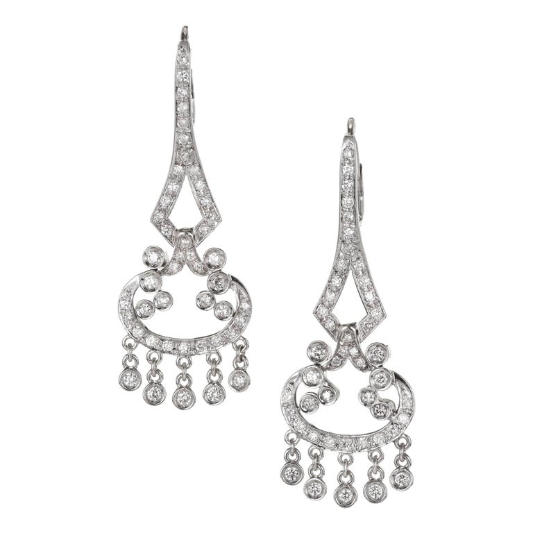 1.73 Carat Diamond Gold Flexible Dangle Chandelier Earrings