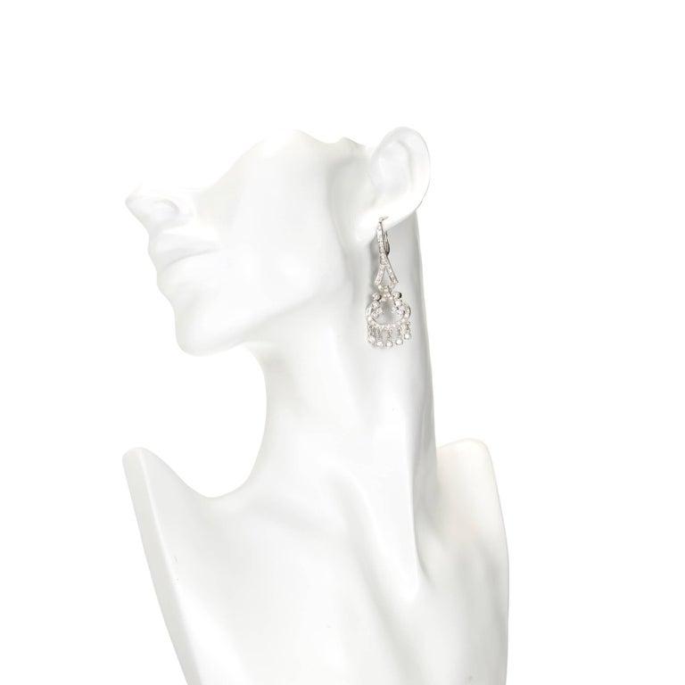 Women's 1.73 Carat Diamond Gold Flexible Dangle Chandelier Earrings