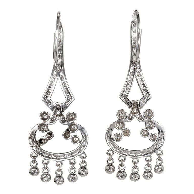 1.73 Carat Diamond Gold Flexible Dangle Chandelier Earrings 1