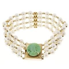 GIA Certified Cultured Pearl Natural Jade Multi-Row Gold Bracelet