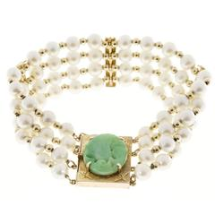 GIA Certified Cultured Pearl Natural Jade Multi-Row Gold Bracelet
