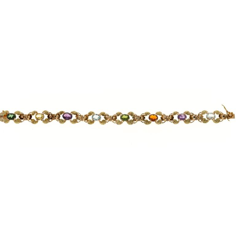 Tourmaline Citrine Amethyst Aqua Beryl Green Leaf Gold link Bracelet In Good Condition For Sale In Stamford, CT