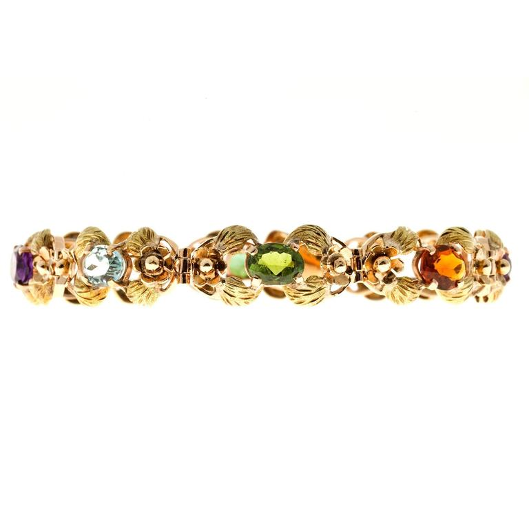 Tourmaline Citrine Amethyst Aqua Beryl Green Leaf Gold link Bracelet For Sale 1