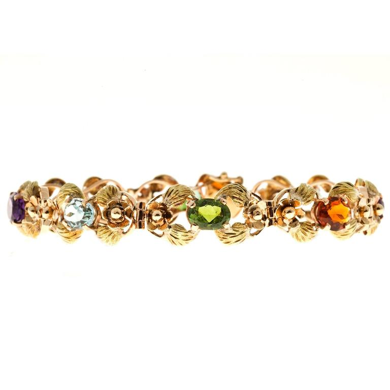Women's Tourmaline Citrine Amethyst Aqua Beryl Green Leaf Gold link Bracelet For Sale