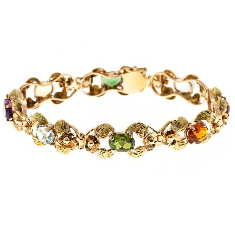 Tourmaline Citrine Amethyst Aqua Beryl Green Leaf Gold link Bracelet For Sale