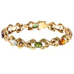 Tourmaline Citrine Amethyst Aqua Beryl Green Leaf Gold link Bracelet