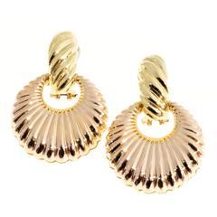 Gold Shrimp Ribbed Dangle Clip Post Earrings