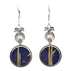 Peter Suchy Rutile Quartz Lapis Diamond Euro Wire Gold Dangle Earrings