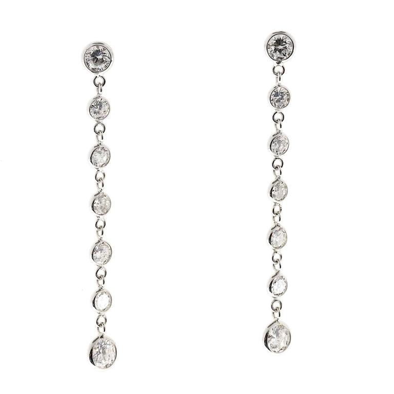 Peter Suchy Diamond Gold Dangle Drop Earrings