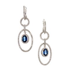 Oval Sapphire Diamond Gold Dangle Chandelier Earrings