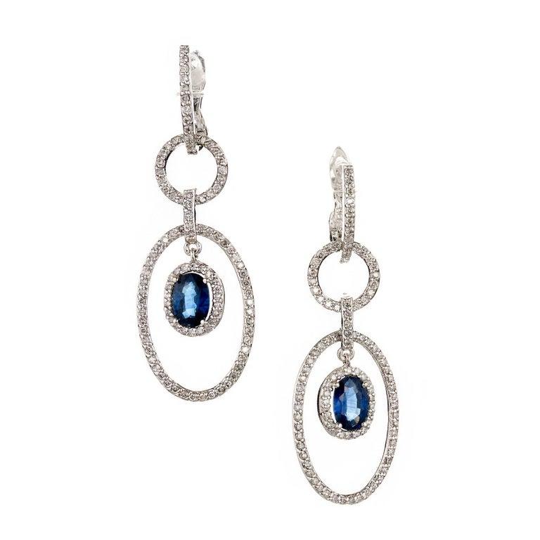 Oval Sapphire Diamond Gold Dangle Chandelier Earrings