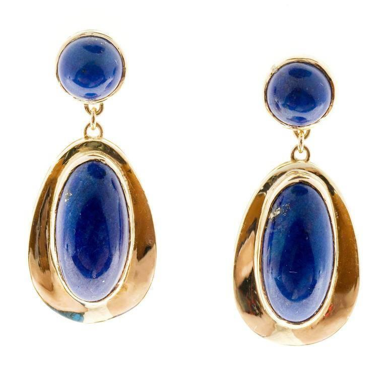 Oval Round Blue Lapis Yellow Gold Dangle Earrings