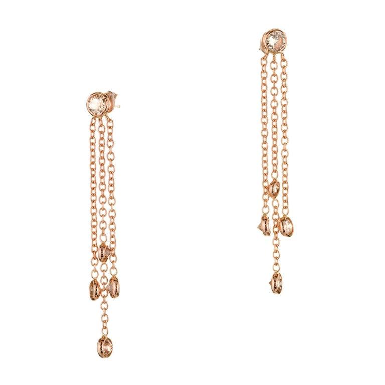Peter Suchy 2.29 Carat Rose Gold Pink Brown Diamond Dangle Drop Earrings