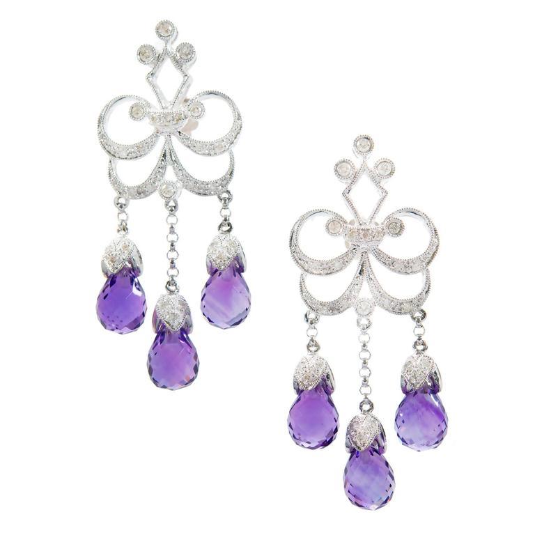Amethyst Diamond Gold Chandelier Dangle Earrings