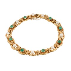 Natural Pearl Emerald Genuine Dome Gold Link Bracelet