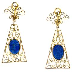 Lapis Gold Clip Post Dangle Earrings
