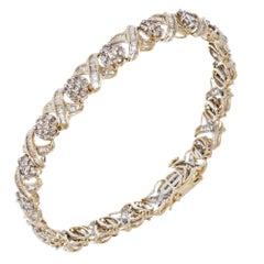 "Round Baguette Diamond Gold ""XO"" Link Bracelet"