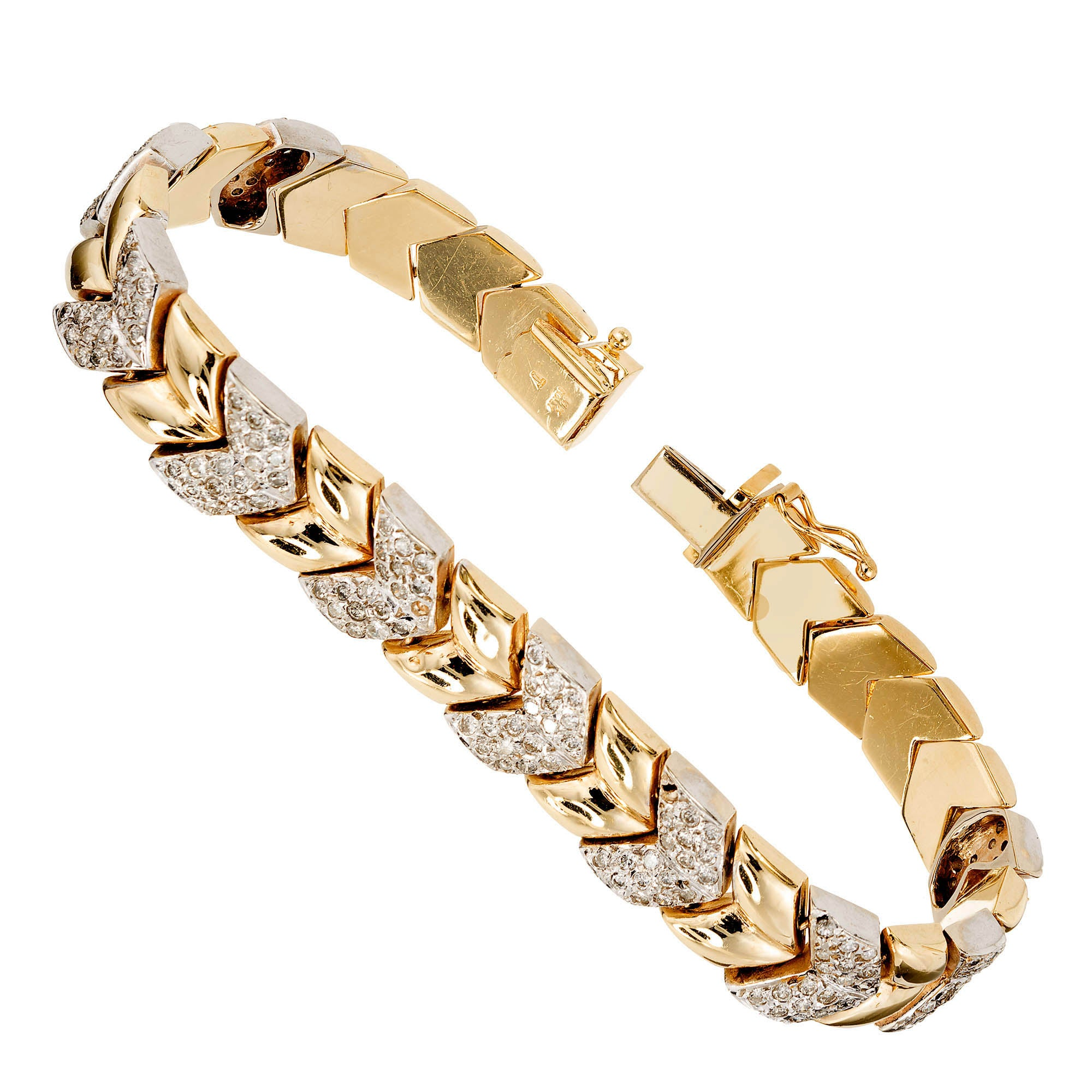 2.50 Carat Diamond Gold Chevron Link Bracelet