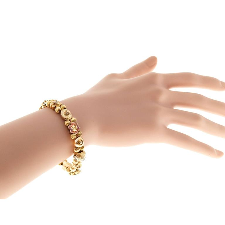 Sapphire Pearl Turquoise Diamond Gold Slide Bracelet For Sale 2