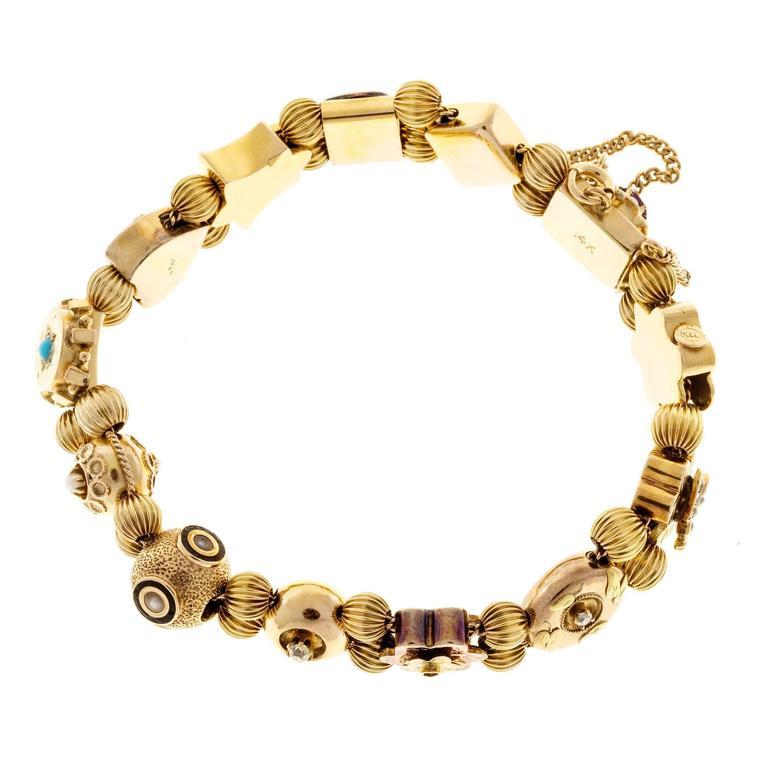 Women's Sapphire Pearl Turquoise Diamond Gold Slide Bracelet For Sale