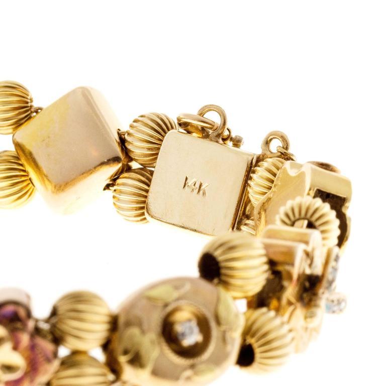 Sapphire Pearl Turquoise Diamond Gold Slide Bracelet For Sale 1