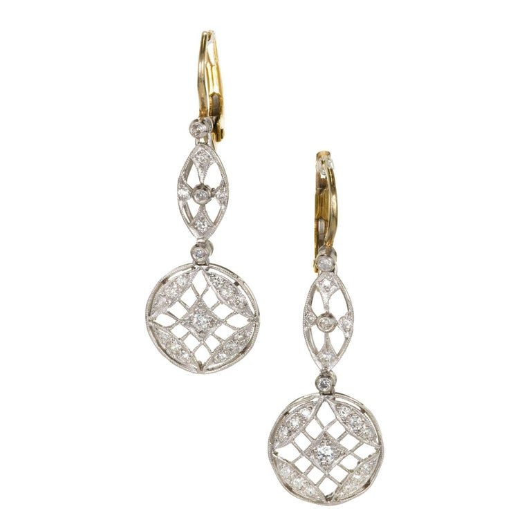 .50 Carat Art Deco Diamond Platinum Gold Dangle Earrings