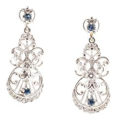 Ceylon Sapphire Round Diamond Platinum Dangle Earrings
