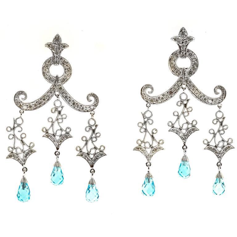 BlueTopaz Briolette Diamond Gold Dangle Chandelier Earrings