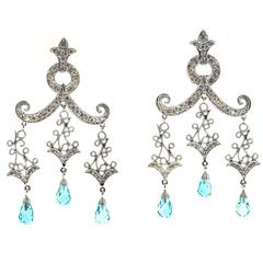 BlueTopaz Briolette Diamond Gold Dangle Chandelier Earrings