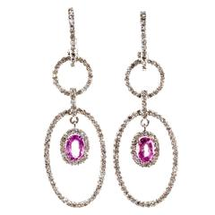 Diamond Oval Pink Sapphire Gold Dangle Earrings
