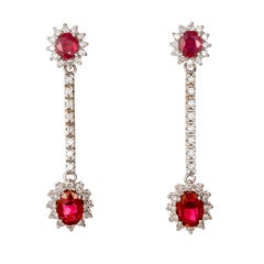 3.20 Carat Oval Ruby White Diamond Hinged Gold Dangle Earrings